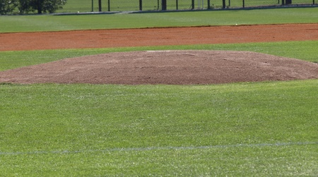A closeup view of a pitchers mound photo