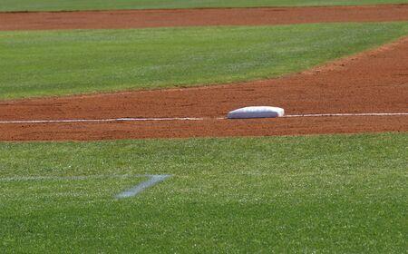 baseball diamond: First base view shown closeup on a baseball diamond