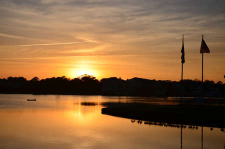 Sunset over the lake in Carolina Beach, North Carolina. photo