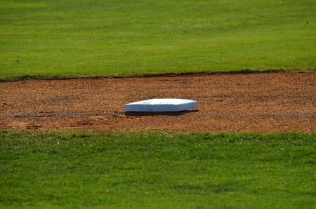 a cloeup view of second base before the start of a game. Stock Photo - 13072206