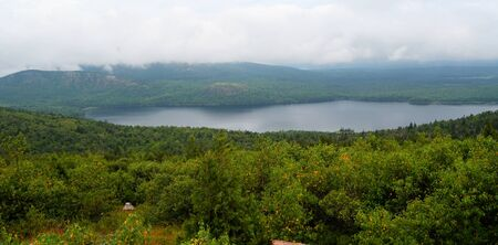 View from the road to the top of Cadillac Mountain in Acadia National Park. Stock Photo