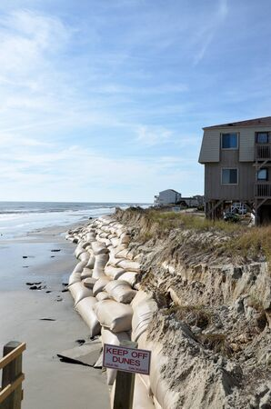 sandbag: Sand bags along the beach in North Carolina to protect from heavy surf and erosion.