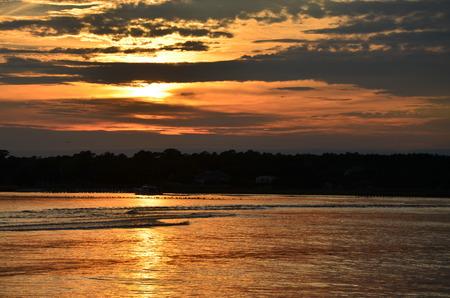 north carolina: The sun setting over the intercoastal waterway in North Carolina