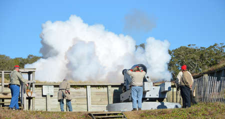 reenactment: Civil war reenactment with cannons