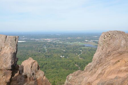 View from Kings Pinnacle at Crowders Mountain State Park in North Carolina
