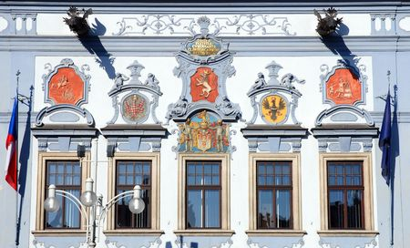 guild hall: detail of town hall, Ceske Budejovice, Czech Republic Stock Photo