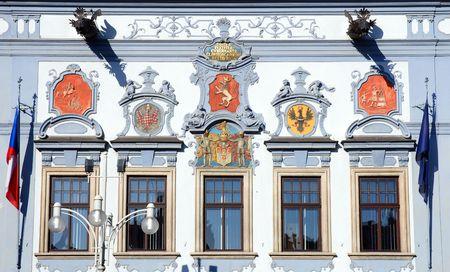 budejovice: detail of town hall, Ceske Budejovice, Czech Republic Stock Photo