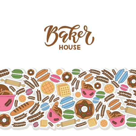 Hand drawn vector illustration for bread shop market, bakery, bakery products, baking, label.