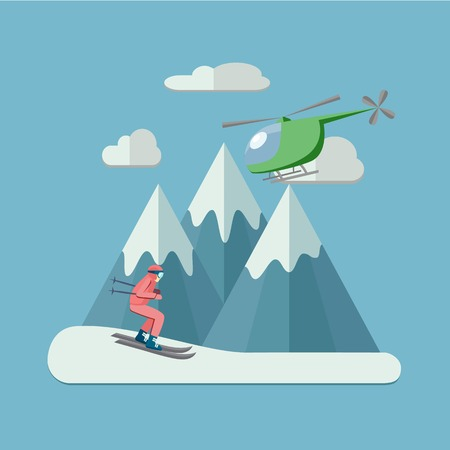 Heliskiing flat illustration with helicopter, mountains and skier. File with clearly labeled layers for easy editing. EPS 10 Illustration