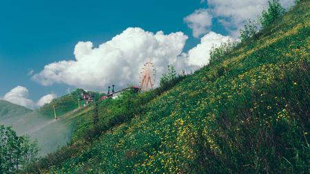 놀라운 산의 경치와 케이블카로 녹지. Gelendzhik, 북 코카서스, 러시아 스톡 콘텐츠 - 78244536