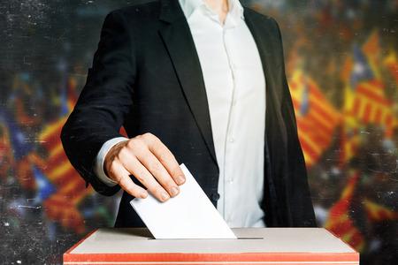 Man Putting A Ballot Into A Voting box. Democracy Freedom Concept