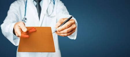 Doctor Pointing Your Prescription On A Digital Tablet Screen On A Blue Background