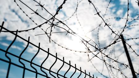 푸른 하늘에 대하여 철 조망 울타리입니다. 자유 감옥의 독립 침묵의 외로움 개념 스톡 콘텐츠