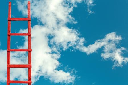 Red Wooden Stairway to Heaven. Road To Success. Achievement Of Goals Career Metaphor