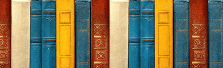 Concept Of Education And Knowledge. Old rare Books In A Row In Library, Front View Stock Photo