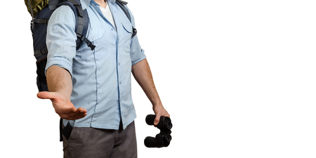 Uunrecognizable Young Traveler Man With A Baclpack And Binoculars, Stretches Out His Hand Isolated. Help In Travel Concept Stockfoto
