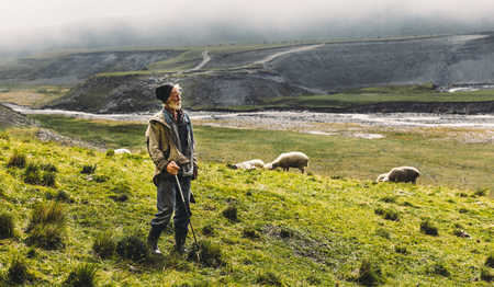 Portrait Of Shepherd With Sheep On The Field In Mountains, Witb Copy-Space. Agriculture Concept