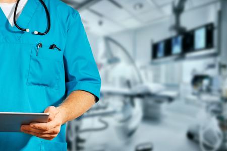 Concept of global medicine and healthcare. Unrecognizable doctor using digital tablet. Diagnostics 写真素材
