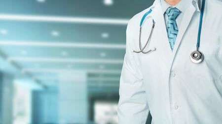 Concept of health and medicine. Stethoscope, portrait, unrecognizable person in clinic