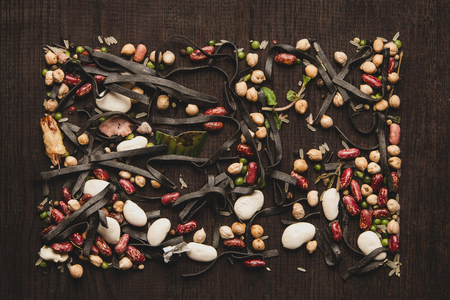 Food design minimalism. Colorful beans Surface Texture Top View Close up. Pattern Background 写真素材 - 117181353