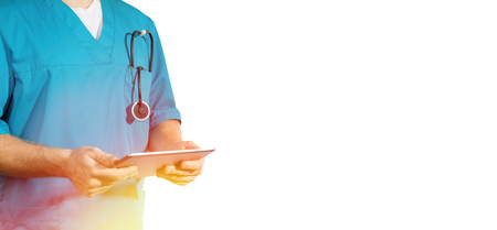 Concept of global medicine and healthcare. Doctor holds digital tablet. Diagnostics and modern technology, isolated