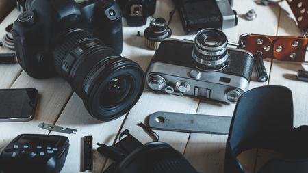 Retro Vintage Film Camera, DSLR Camera And Accessories Technology Development Concept. Closeup 写真素材