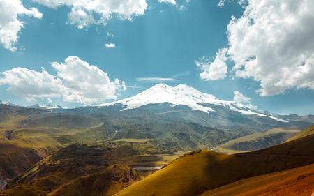 Elbrus Mount And Green Hills At Summer Dayr. Elbrus Region, Northen Caucasus, Russia