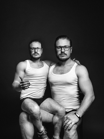 Cloning people concept. Creative man portrait. Black and white image