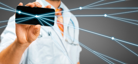 Doctor uses a smartphone with augmented reality. Remote diagnosis and communication with the patient