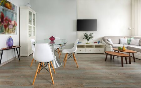 Trendy designed dining and living rooms in white lagom scandinavian style. Elegant contemporary loft concept