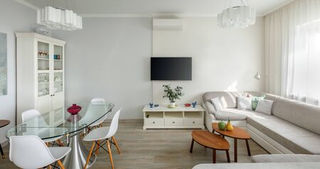 Trendy designed dining and living rooms in white lagom scandinavian style. Elegant contemporary loft apartment concept