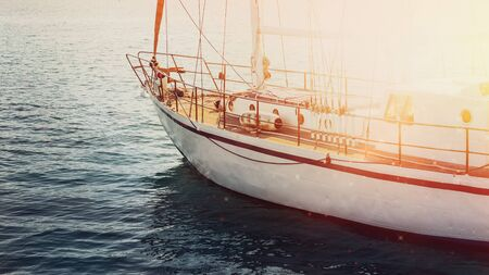Sailing Yacht Moves Along In The Sea Or Ocean. Travel Vacation Adventure Concept 写真素材 - 132722330