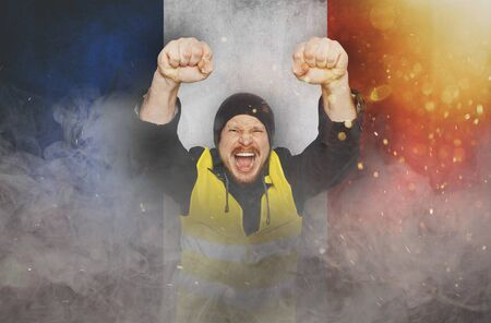 Protests Yellow Vests, Struggle For Equal Rights, Electoral Movement. Man Eaised Hands In Fists and Screams