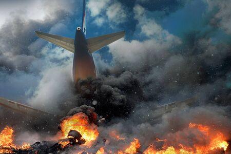 Incidente aereo, aereo in fiamme e fumo. Paura del concetto di viaggio aereo