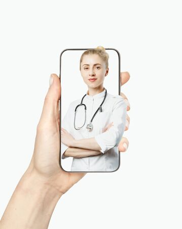 Online medicine and healthcare concept. Friendly woman doctor consults patient on video call while staying at home