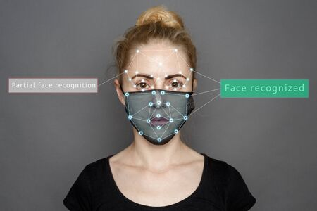 Face Recognition In Medical Mask Using Artificial Intelligence And Neural Networks. Biometric 3D Scanning. Face ID. Identification of a Person Through System Of Recognition. Polygon Vector Wireframe Concept