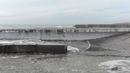 Stone breakwater on Black Sea coast Standard-Bild