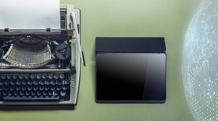 Analog Typewriter, Tablet, Global Network and Cloud Storage On Green Surface. Continuity Of Generations, Technology Development Concept