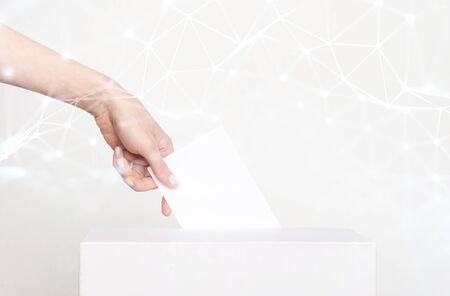 Voter Holding Ballot For Remote Voting Standard-Bild
