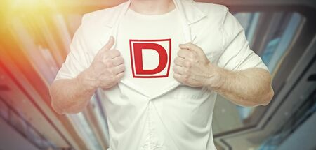 Modern Superhero Doctor Concept. Idea of Combating The Coronavirus Pandemic COVID-19. Unrecognizable Man In A White Coat And Letter D On His Chest
