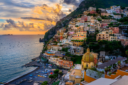 Sunset over Positano near Sorrento at Amalfi Coast in Italy