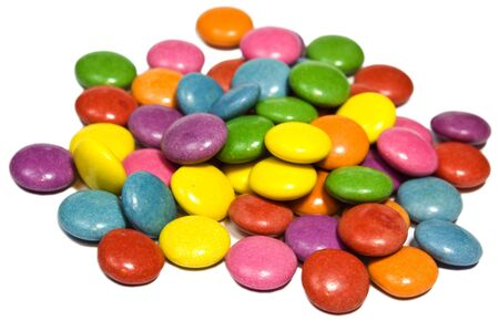 Many colourful candy on white background  photo