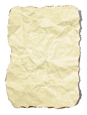 feuille froiss�e: Feuille de papier froiss� sur fond blanc Banque d'images