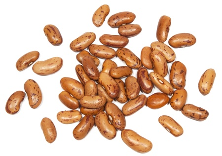 Dry brown beans on white background  photo