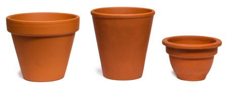 pot: Empty clay plant pots isolated on white background
