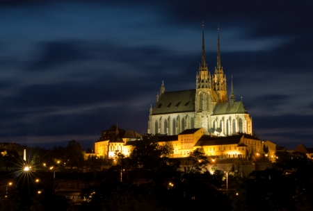 travel features: Cathedral Petrov at night  Brno Czech Republic  Stock Photo