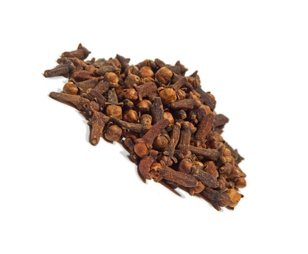 sweltering: Dried clove on white background  Stock Photo
