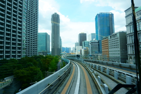 Scenery of a train traveling on the elevated rail of Yurikamome Line in Tokyo