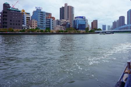 TOKYO, Japan - Sept 10 2018: Sumida River is a river that flows through Tokyo, Japan; flows into Tokyo Bay