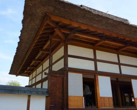 Ashikaga, Tochigi / Japan April 29, 2019: Ashikaga Gakko is Japan's oldest academic institution. Roof Asian style, element of ancient architecture 에디토리얼